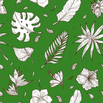 Tropical palm leaf seamless vector summer pattern sketch background