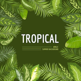 Тропические пальмовые листья фон. графический дизайн футболки в векторе