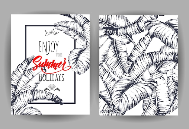 Tropical palm leaves background invitation or card design with jungle leaves