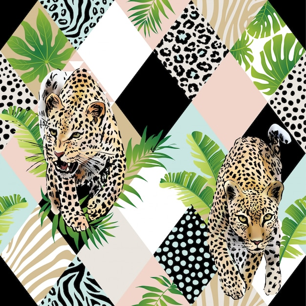 Tropical palm leaves and exotic leopard background