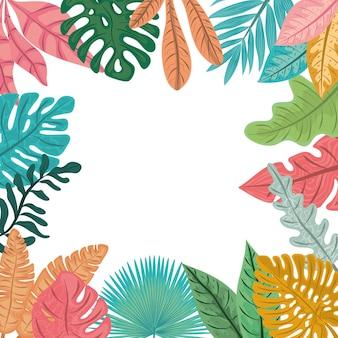 熱帯のヤシの葉、ジャングルの葉自然背景イラスト