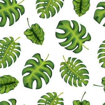 Tropical palm leaves, jungle leaves seamless pattern background