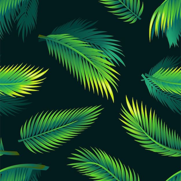 Tropical palm leaves  seamless modern material design pattern on black background exotic branches
