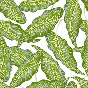 熱帯のヤシは、白い背景で隔離のシームレスなパターンを残します。ジャングルは植物の壁紙を残します。葉の背景。生地、テキスタイルプリント、ラッピング、カバーのデザイン。ベクトルイラスト。
