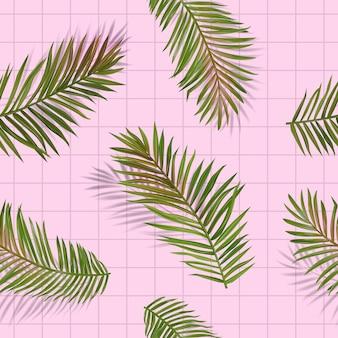 Тропические пальмовые листья бесшовные модели. цветочный фон джунглей. летний дизайн экзотической ботанической листвы с тропическими растениями для ткани, модного текстиля, обоев. векторная иллюстрация