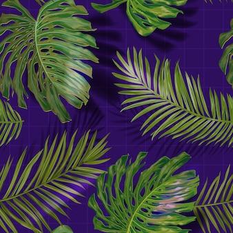 熱帯のヤシの葉のシームレスなパターン。ジャングルの花の背景。ファブリック、ファッションテキスタイル、壁紙のための熱帯植物と夏のエキゾチックな植物の葉のデザイン。ベクトルイラスト
