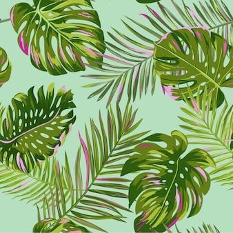 Тропические пальмовые листья бесшовные модели. акварель цветочный фон. экзотический ботанический дизайн для ткани, текстиля, обоев, упаковочной бумаги. векторная иллюстрация