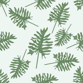 熱帯のヤシの葉。シームレスパターン。 Premiumベクター