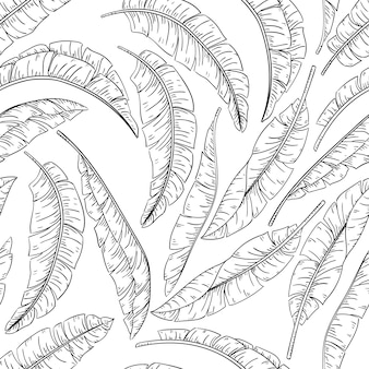 Tropical palm leaves sketch seamless pattern, jungle banana