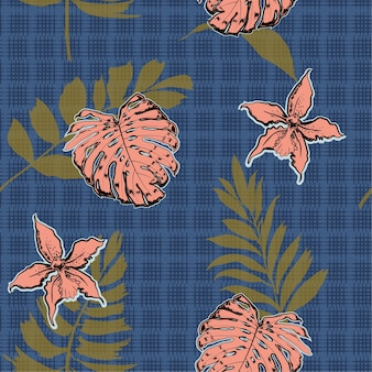 Tropical palm and leaves on texture seamless pattern vector
