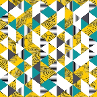 Tropical palm leaves and triangle seamless pattern