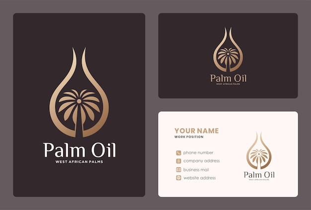 Tropical palm oil logo and business card design.