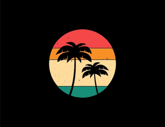 Tropical palm tree illustration with vintage retro circle concept