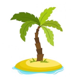 Tropical palm tree on island with sea waves