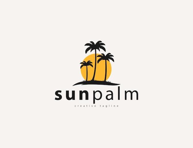 Tropical palm tree and sun logo design template
