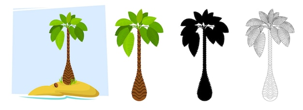 Tropical palm trees illustration of a palm tree black silhouettes and outline contours