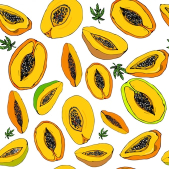 Tropical papaya seamless pattern