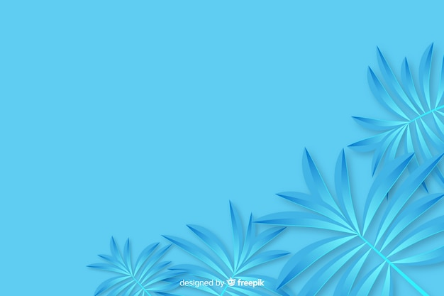 Tropical paper palm leaves frame in blue