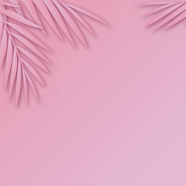 柔らかい影のある熱帯の紙のヤシの葉のフレーム