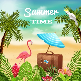 Tropical paradise background composition with travel case and sunshade on beach scenery with palms and flamingo