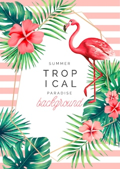 Tropical paradise background with exotic nature and flamingo