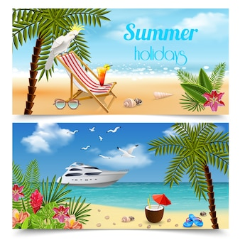 Tropical paradise banners collection with images of summer holidays relaxation by the sea with beach landscapes