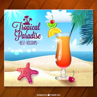 Tropical paradise card with summer cocktail