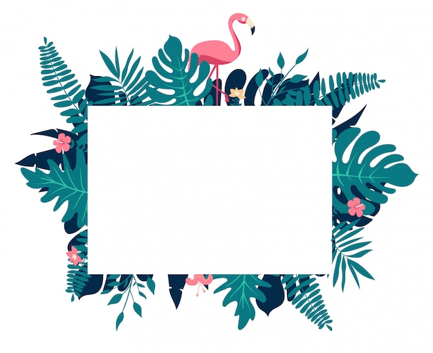 Tropical paradise composition, rectangular border frame with text placeholder