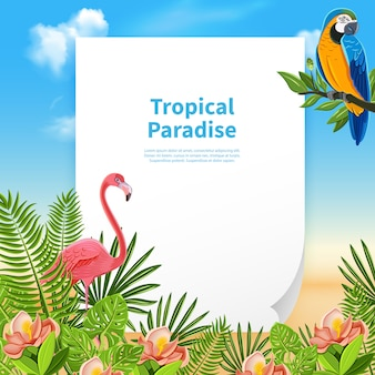 Tropical paradise composition with a piece of paper and editable text with plants