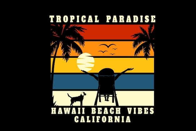 Tropical paradise hawaii beach vibes california color orange yellow and blue