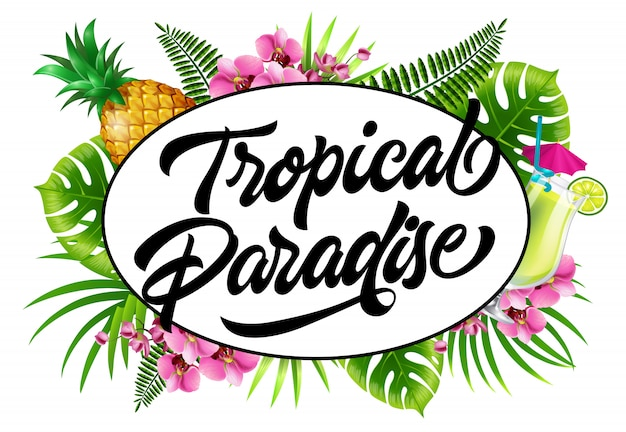 Tropical paradise invitation with palm leaves, flowers, pineapple and fresh drink.