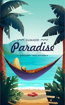 Плакат тропического рая. вид на море с гамаком и пальмами. иллюстрация концепции летних каникул. вектор.