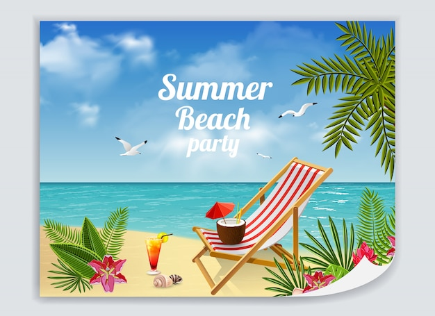 Tropical paradise poster with colorful picture of sandy beach with lounge deck chair cocktails and sea