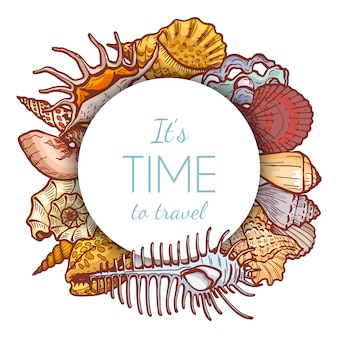 熱帯の楽園ラウンドコンセプト海シェルアイコン、白、漫画イラストで隔離ビジネステキストの配置。旅行の時間です。