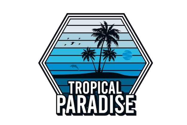 Tropical paradise silhouette design