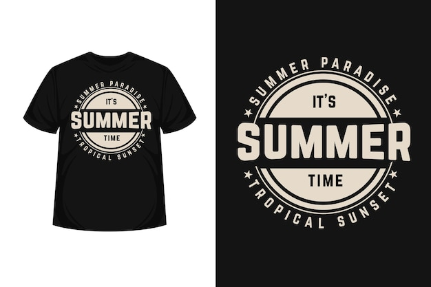 Tropical paradise summer time typography  t-shirt design