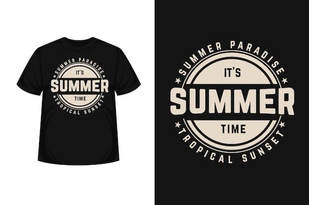 トロピカルパラダイスサマータイムタイポグラフィtシャツデザイン