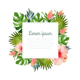 花と熱帯の楽園の水彩画フレーム