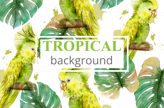 Tropical paradise with watercolor parrots and palm leaves