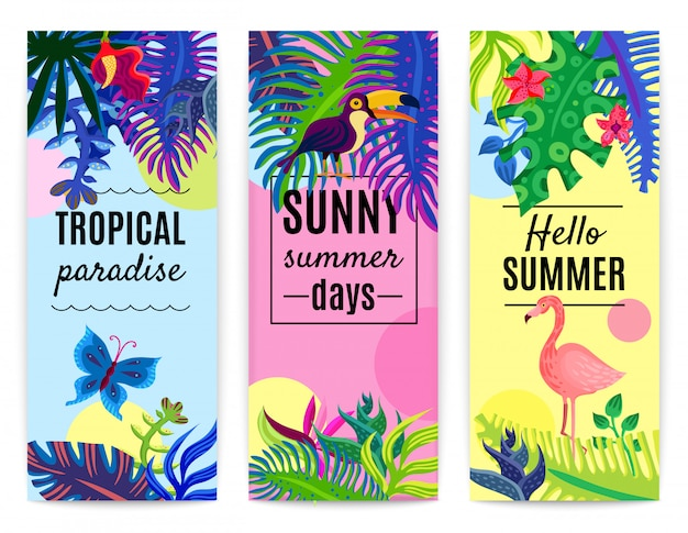 Tropical paradise коллекция вертикальных баннеров