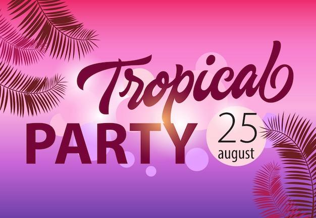 Partito tropicale, agosto venticinque modello dell'invito con le forme di foglia di palma su magenta