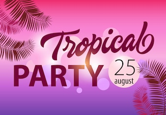 Tropical party, august twenty five invitation template with palm leaf shapes on magenta