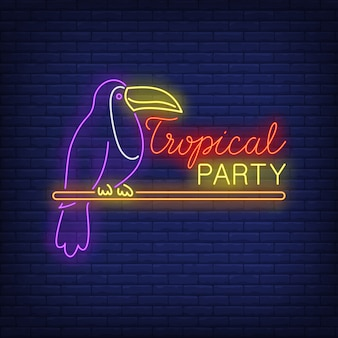 Tropical party neon text with exotic bird