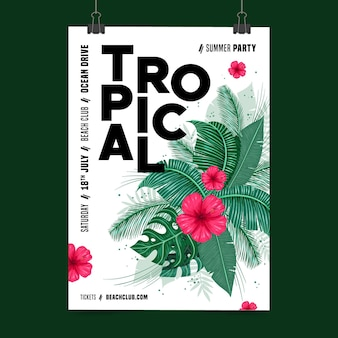 Tropical party poster design