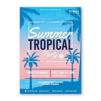 Disegno del modello di poster festa tropicale