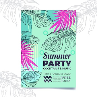 Tropical party poster template style