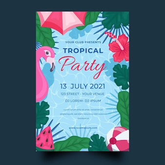 Tropical party poster template with flamingo and leaves
