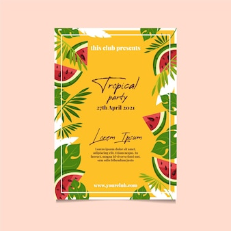 葉とスイカの熱帯党ポスターテンプレート