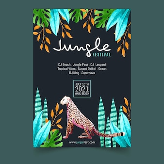 Tropical party poster template with leaves and cheetah