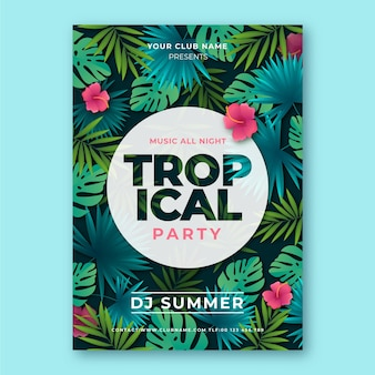 Tropical party poster template with leaves